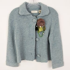 Anthropologie Sleeping on Snow Button Cardigan L